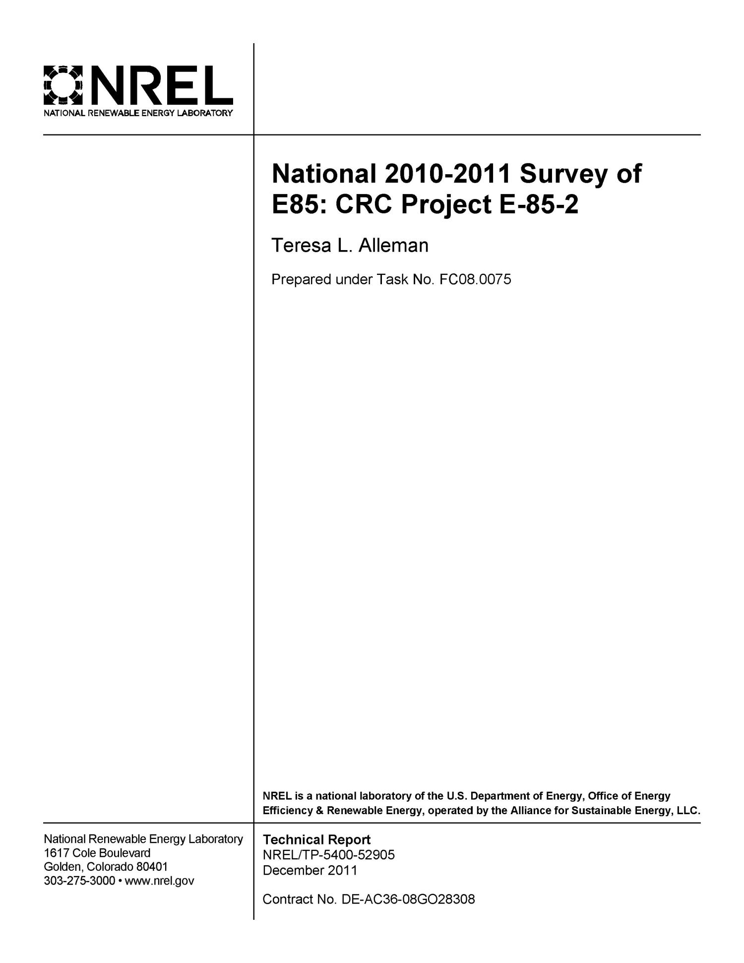 National 2010-2011 Survey of E85: CRC Project E-85-2                                                                                                      [Sequence #]: 2 of 38