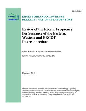 Primary view of object titled 'Review of the Recent Frequency Performance of the Eastern, Western and ERCOT Interconnections'.
