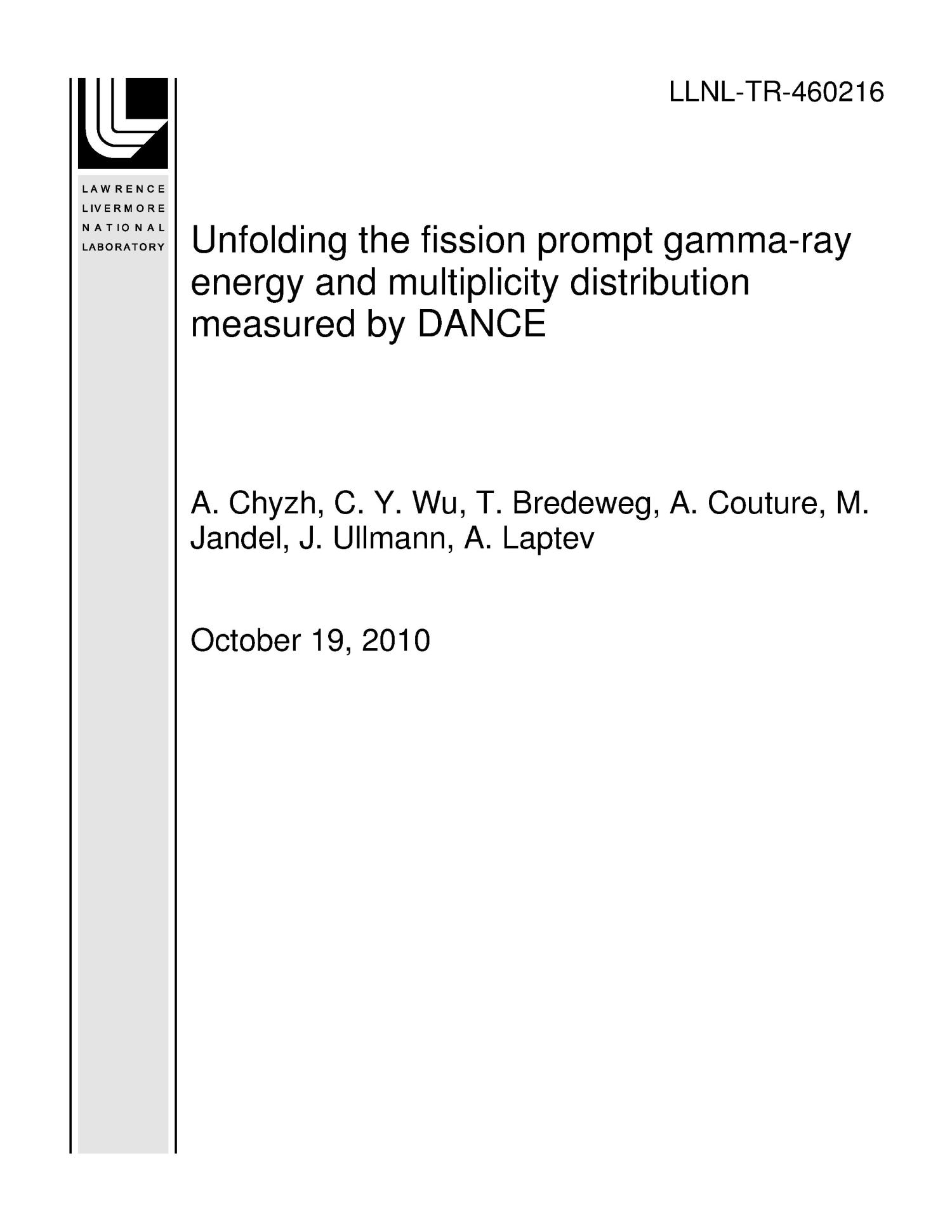 Unfolding the fission prompt gamma-ray energy and multiplicity distribution measured by DANCE                                                                                                      [Sequence #]: 1 of 15