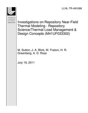Primary view of object titled 'Investigations on Repository Near-Field Thermal Modeling - Repository Science/Thermal Load Management & Design Concepts (M41UF033302)'.