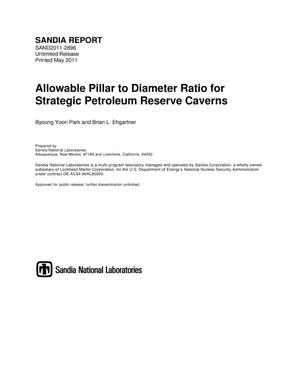 Primary view of object titled 'Allowable pillar to diameter ratio for strategic petroleum reserve caverns.'.