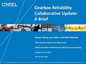 Primary view of object titled 'Gearbox Reliability Collaborative Update: A Brief (Presentation)'.
