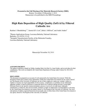 Primary view of object titled 'High Rate Deposition of High Quality ZnO:Al by Filtered Cathodic Arc'.