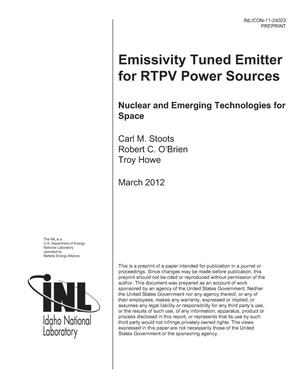 Primary view of object titled 'Emissivity Tuned Emitter for RTPV Power Sources'.