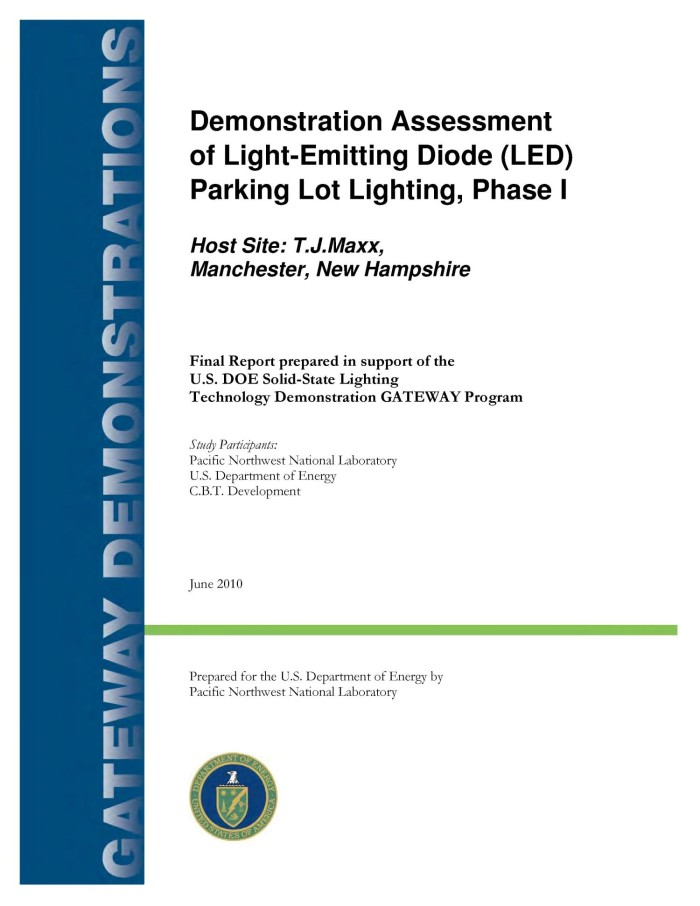 Demonstration Essment Of Light Emitting Diode Led Parking Lot Lighting At T J Ma In Manchester Nh Phase I
