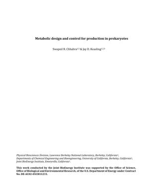 Primary view of object titled 'Metabolic Design and Control for Production in Prokaryotes'.