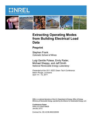 Primary view of object titled 'Extracting Operating Modes from Building Electrical Load Data: Preprint'.