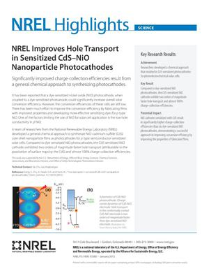 Primary view of object titled 'NREL Improves Hole Transport in Sensitized CdS-NiO Nanoparticle Photocathodes (Fact Sheet)'.