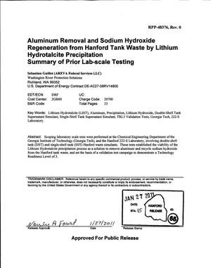 Primary view of object titled 'ALUMINUM REMOVAL AND SODIUM HYDROXIDE REGENERATION FROM HANFORD TANK WASTE BY LITHIUM HYDROTALCITE PRECIPITATION SUMMARY OF PRIOR LAB-SCALE TESTING'.