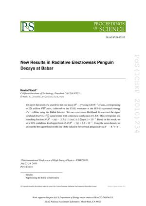 Primary view of object titled 'New Results in Radiative Electroweak Penguin Decays at BaBar'.
