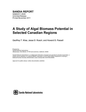 Primary view of object titled 'A study of algal biomass potential in selected Canadian regions.'.