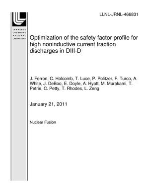 Primary view of object titled 'Optimization of the safety factor profile for high noninductive current fraction discharges in DIII-D'.