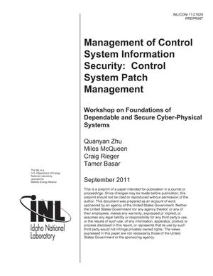 Primary view of object titled 'Management of Control System Information SecurityI: Control System Patch Management'.