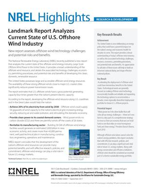 Primary view of object titled 'Landmark Report Analyzes Current State of U.S. Offshore Wind Industry (Fact Sheet)'.