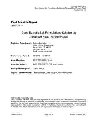 Primary view of object titled 'Deep Eutectic Salt Formulations Suitable as Advanced Heat Transfer Fluids'.