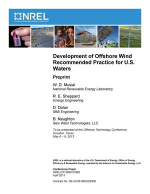 Primary view of object titled 'Development of Offshore Wind Recommended Practice for U.S. Waters: Preprint'.