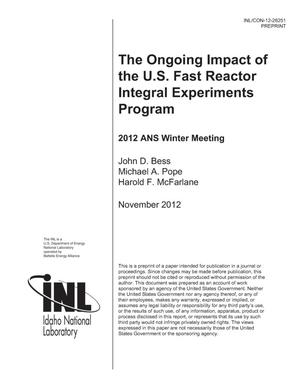 Primary view of object titled 'The Ongoing Impact of the U.S. Fast Reactor Integral Experiments Program'.