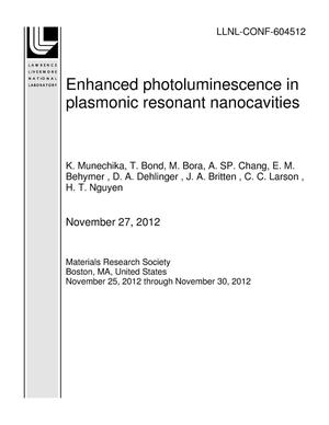 Primary view of object titled 'Enhanced photoluminescence in plasmonic resonant nanocavities'.