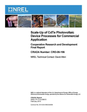 Primary view of object titled 'Scale-Up of CdTe Photovoltaic Device Processes for Commercial Application: Cooperative Research and Development Final Report, CRADA Number CRD-06-196'.