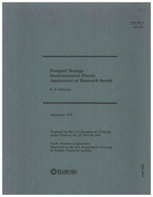 Primary view of object titled 'PUMPED STORAGE ENVIRONMENTAL EFFECTS: ASSESSMENT OF RESEARCH NEEDS'.