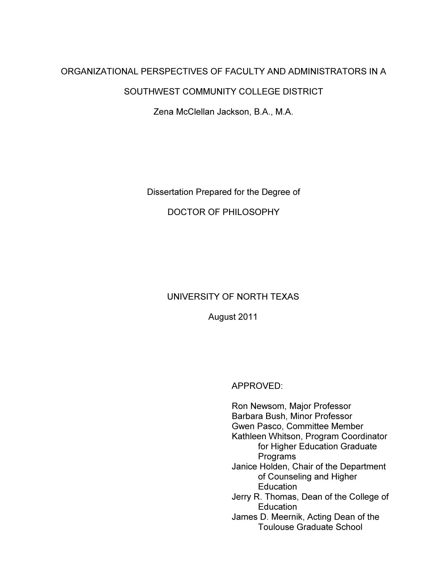Organizational Perspectives of Faculty and Administrators in a Southwest Community College District                                                                                                      Title Page