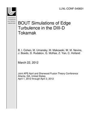 Primary view of object titled 'BOUT Simulations of Edge Turbulence in the DIII-D Tokamak'.