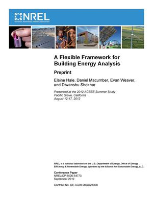 Primary view of object titled 'Flexible Framework for Building Energy Analysis: Preprint'.