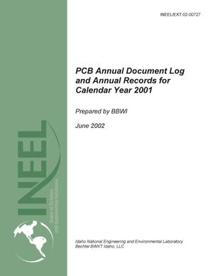 Primary view of object titled 'PCB Annual Document Log and Annual Records for Cal'.