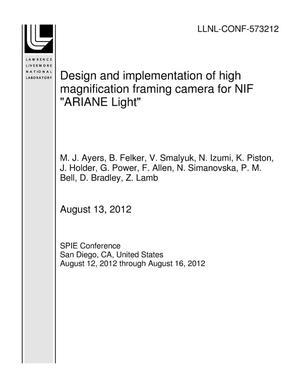 "Primary view of object titled 'Design and implementation of high magnification framing camera for NIF ""ARIANE Light""'."