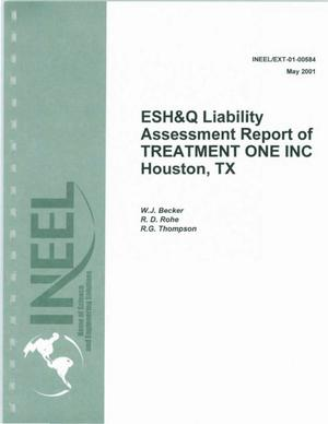 Primary view of object titled 'ESH&Q Liability Assessment Report of Treatment One'.