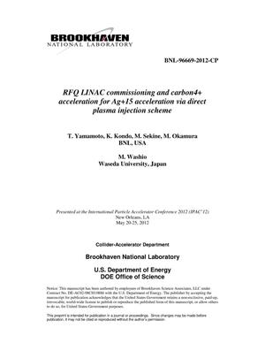 Primary view of object titled 'RFQ LINAC commissioning and carbon4+ acceleration for Ag15+ acceleration via direct plasma injection scheme'.