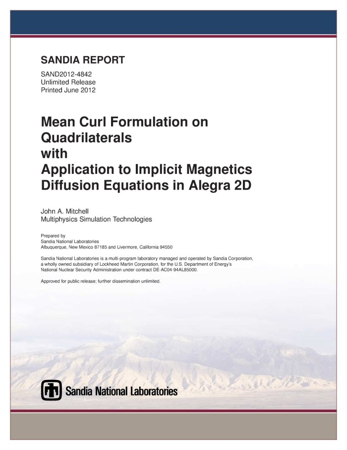 Mean curl formulation on quadrilaterals with application to