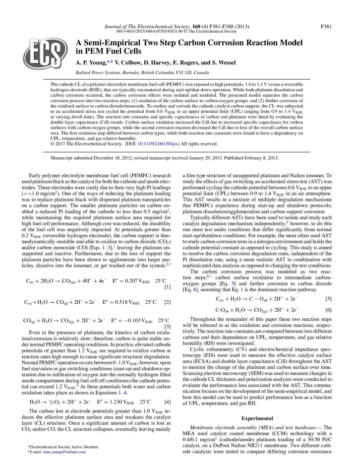 A Semi-Empirical Two Step Carbon Corrosion Reaction Model in