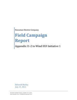 Primary view of object titled 'Appendix I1-2 to Wind HUI Initiative 1: Field Campaign Report'.