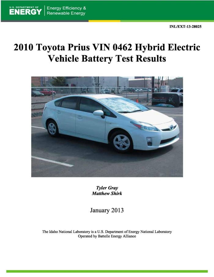 Primary View Of Object Led 2010 Toyota Prius Vin 0462 Hybrid Electric Vehicle Battery Test
