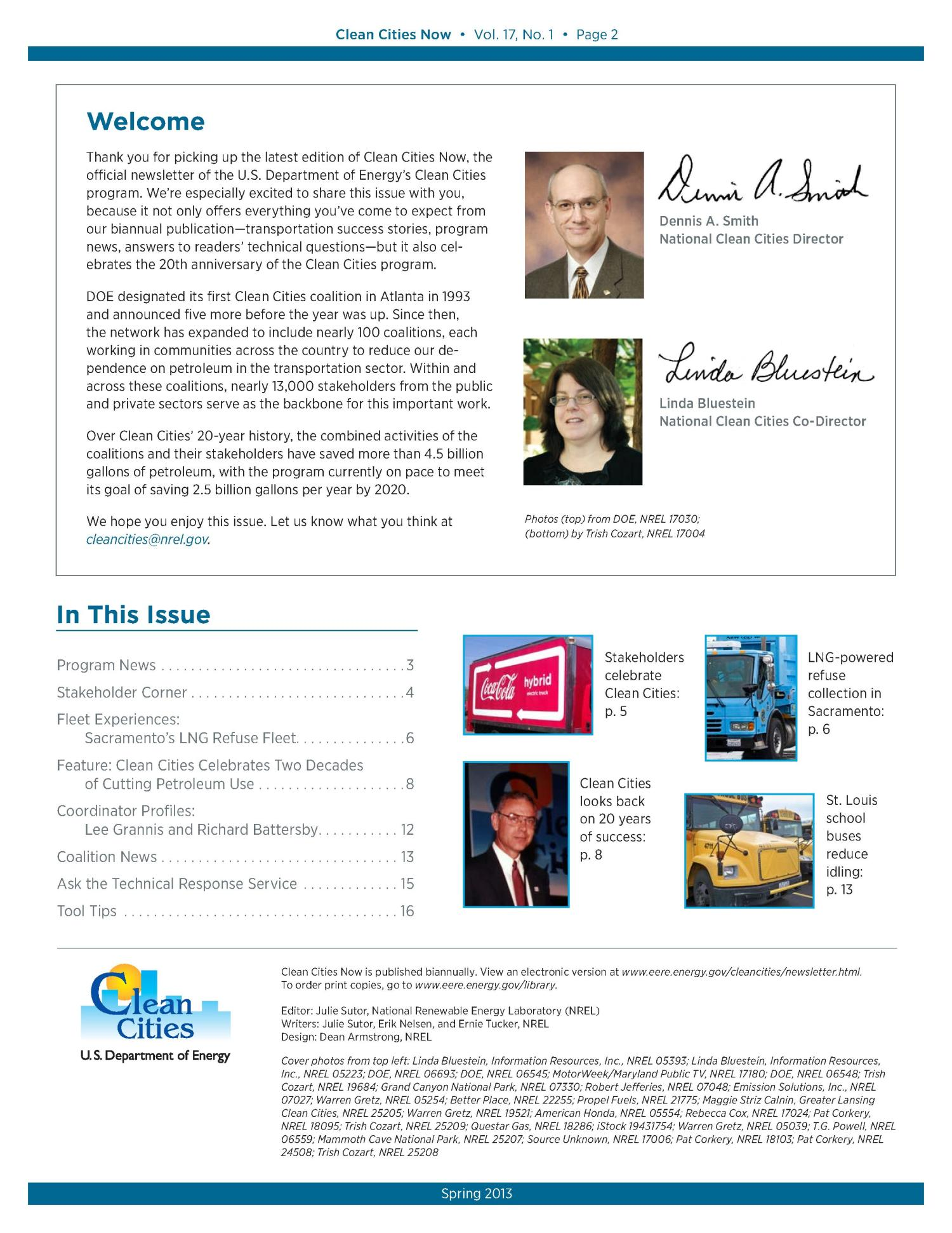 Clean Cities Now: Vol. 17, No. 1, Spring 2013 (Brochure)                                                                                                      [Sequence #]: 2 of 15