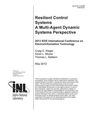 Primary view of object titled 'Resilient Control Systems A Multi-Agent Dynamic Sy'.