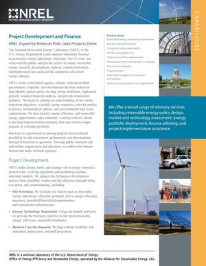 Primary view of object titled 'Project Development and Finance: Capabilities (Fact Sheet)'.