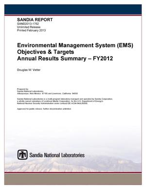 Primary view of object titled 'Environmental Management System (EMS) objectives&targets annual results summary : FY2012.'.