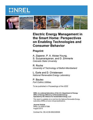 Primary view of object titled 'Electric Energy Management in the Smart Home: Perspectives on Enabling Technologies and Consumer Behavior: Preprint'.