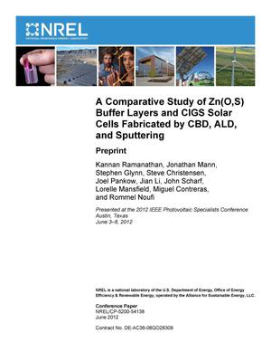 Primary view of object titled 'Comparative Study of Zn(O,S) Buffer Layers and CIGS Solar Cells Fabricated by CBD, ALD, and Sputtering: Preprint'.