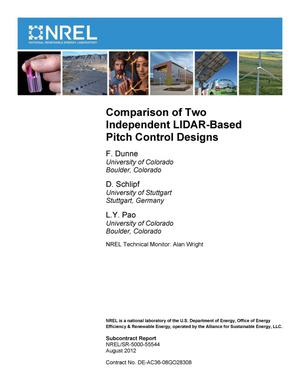 Primary view of object titled 'Comparison of Two Independent LIDAR-Based Pitch Control Designs'.