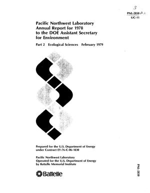 Primary view of object titled 'Pacific Northwest Laboratory Annual Report for 1978 to the DOE Assistant Secretary for Environment Part 2 Ecological Sciences'.