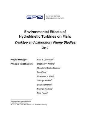 Primary view of object titled 'Environmental Effects of Hydrokinetic Turbines on Fish: Desktop and Laboratory Flume Studies'.