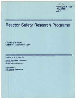 Primary view of object titled 'Reactor Safety Research Programs Quarterly Report October - December 1980'.