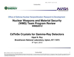 Primary view of object titled 'CdTeSe Crystals for Gamma-Ray Detectors'.