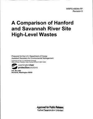 Primary view of object titled 'A COMPARISON OF HANFORD AND SAVANNAH RIVER SITE HIGH-LEVEL WASTES'.