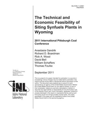 Primary view of object titled 'The Technical and Economic Feasibility of Siting Synfuels Plants in Wyoming'.