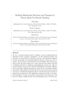 Primary view of object titled 'Modeling Bimolecular Reactions and Transport in Porous Media Via Particle Tracking'.