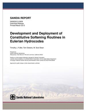 Primary view of object titled 'Development and deployment of constitutive softening routines in Eulerian hydrocodes.'.